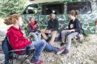 German freedom campers Kalle, Noelle, Julius, and Lucy say they leave no trace when they leave camp.
