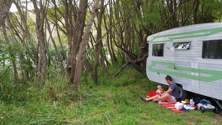 Caroline Atkinson and her husband Simon shipped their renovated caravan over from Australia when they relocated.
