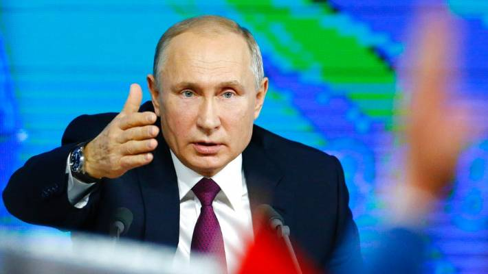 Russian President Vladimir at his annual news conference in Moscow Russia on Thursday. Putin pointed at the US intention to withdraw from the 1987 Intermediate Range Nuclear Forces Treaty. He said that if the US puts Intermediate Range missiles