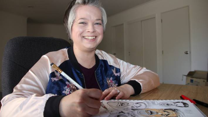 Sunday Star Times illustrator Emma Cook at home in Taupo.
