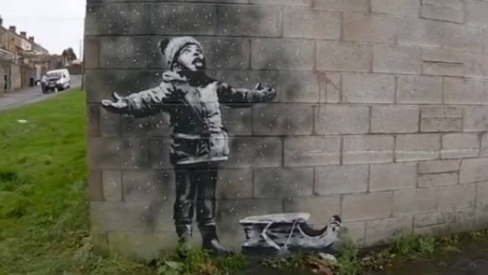 A new Banksy has been attacked by a 'drunk halfwit'