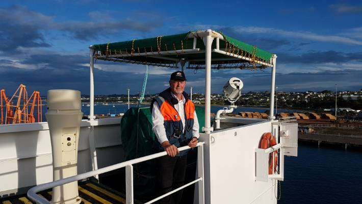 Captain Mike Birch, on the bridge of the Finnanger last Friday, has retired after 16 years as a marine pilot and a further 34 years at sea.