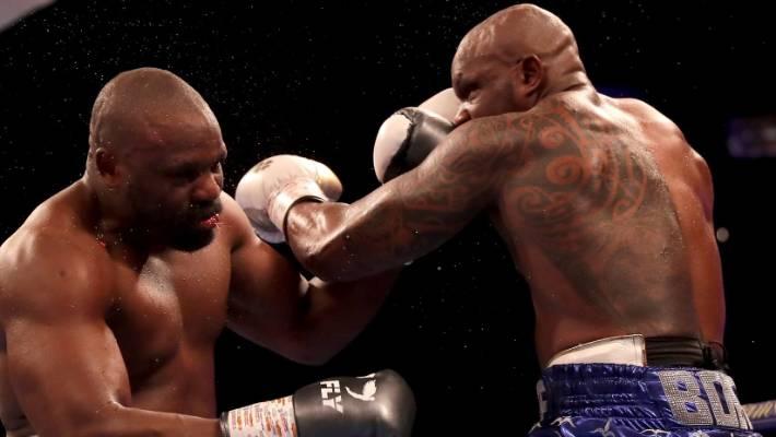 Dillian Whyte lands the left hook that knocked out Dereck Chisora in London