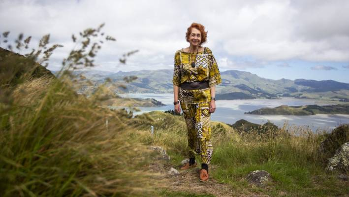Di Lucas in the Port Hills above Christchurch city.