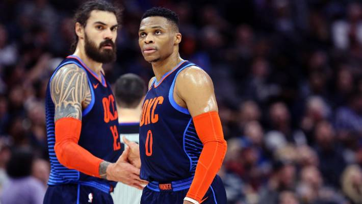 russell westbrook s 40 steven adams double double gets okc thunder