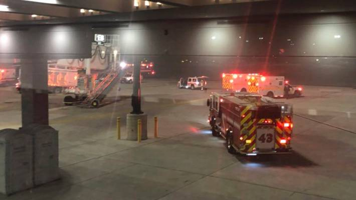 Six hurt in airbridge collapse at United States  airport