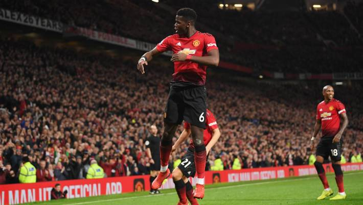 Paul Pogba celebrates one of his two goals for Manchester United against Bournemouth
