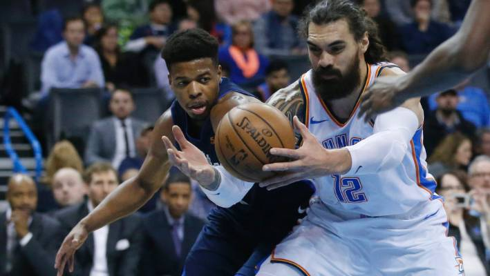 another steven adams double as okc take the dallas mavericks apart