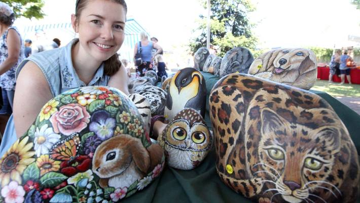 Bethany Baird with her Rock Art stall at the Wakefield Country Fete.