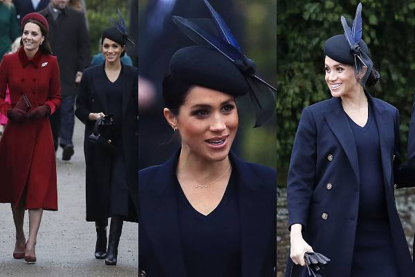 THE GOOD: This elegant Victoria Beckham getup is lovely on the artist formerly known as Meghan Markle, now of course the Duchess of Sussex. The Philip Treacy hat says