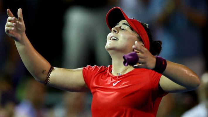 c00dc1d17 Bianca Andreescu celebrates after winning her round of 16 match against  Caroline Wozniacki at the ASB
