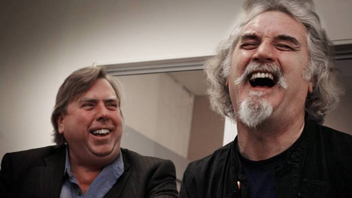 Timothy Spal and Billy Connolly enjoy the big laugh after Connolly spilled his coffee through his jeans during an interview with Daily News in the production office of the latest samurai in New Plymouth.