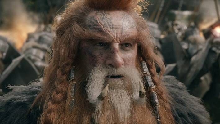 Billy Connolly as a dwarf Diane in the Hobbit: A Battle of the Five Armies.
