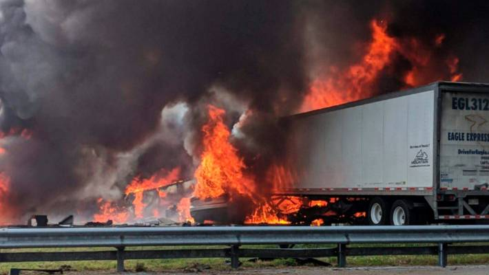Flames engulf vehicles after a fiery crash along Interstate 75 in Florida