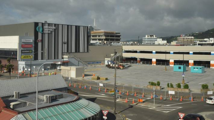 A portion of Queensgate's parking area was fenced off on Tuesday in anticipation for the cinema and carpark rebuild.