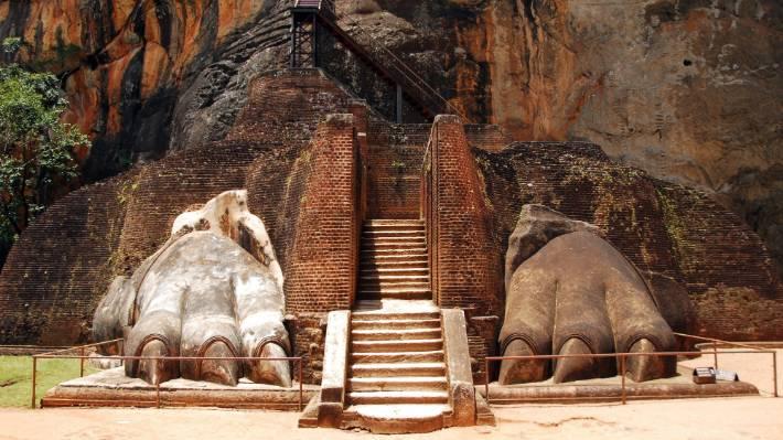 The ancient city of Sigiriya sits atop a granite peak.