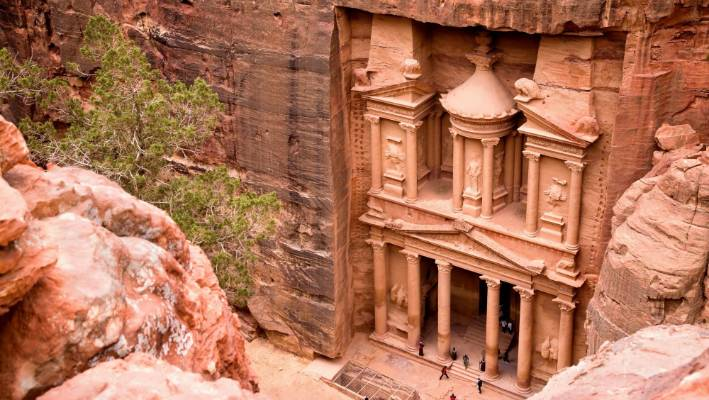 The Treasury in the ancient city of Petra was named one of the new seven wonders of the world in 2007.