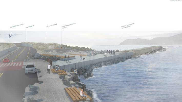 An artist impression of the improvements planned for Moa Point Rd as part of the Wellington Airport runway extension project. The design features a new shared promenada, seating, a photography area and water access platforms.