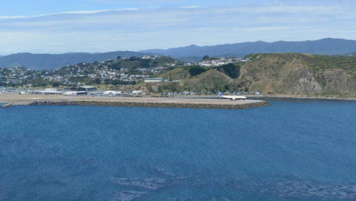 The view from Te Raekaihau Point with an extended Wellington Airport runway.