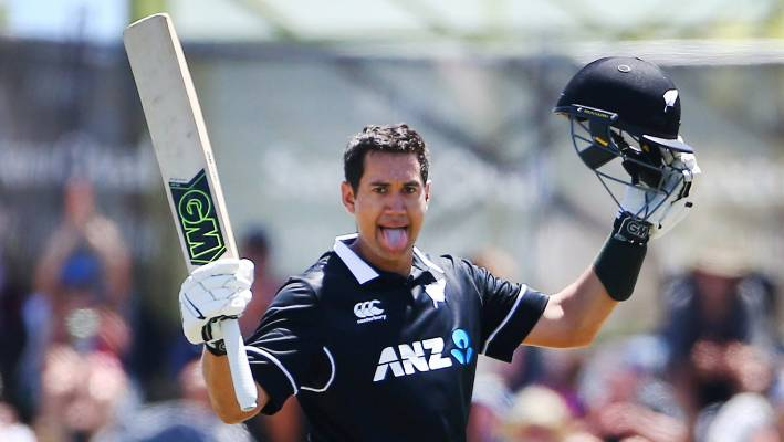 Ross Taylor celebrates his 20th ODI century during the third game against Sri Lanka in Nelson.