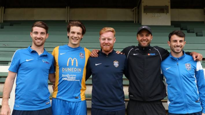 Brothers in arms: from left, Garbhan Coughlan, Markus Fjortoft, Stephen Last, Liam Little and Conor O'Keeffe at Southern United training in Tahuna Park, Dunedin.