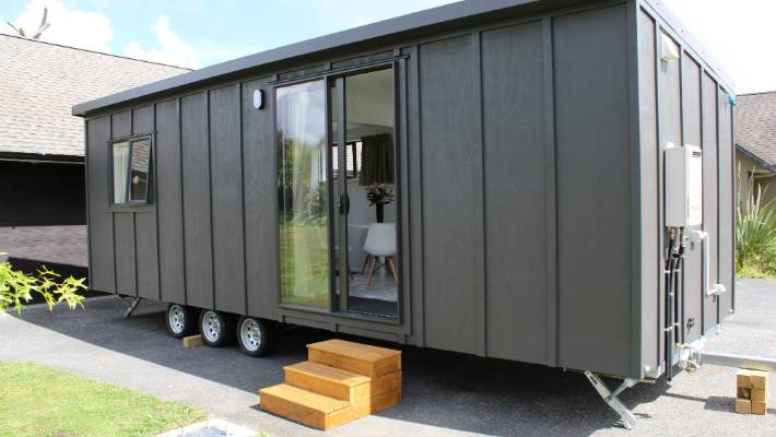 Coastal Cabins is selling tiny houses like this one for weekly payments of between $180 and $290.