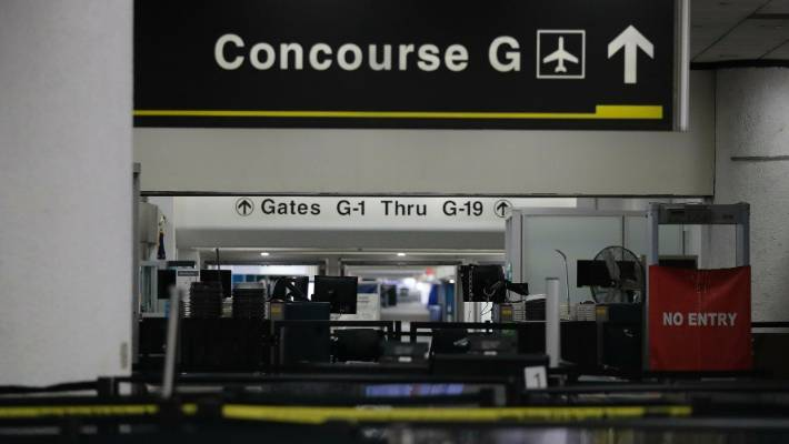 Terminal B in Houston's George Bush Intercontinental Airport closes