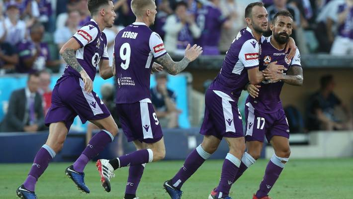 Ivan Franjic and Diego Castro of the Perth Glory celebrate a goal in their 4-3 win over Western Sydney.
