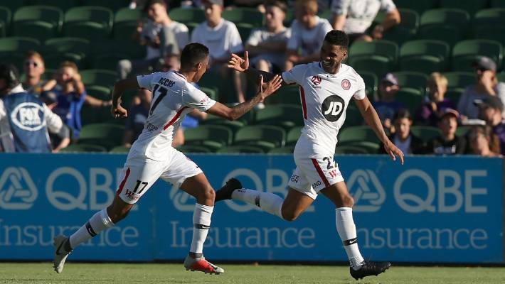 Kwame Yeboah (R) after a Western Sydney Wanderers goal.
