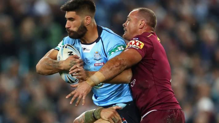 Blues prop James Tamou on State of Origin duty in 2016.