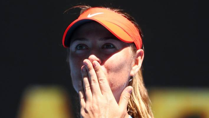 Maria Sharapova of Russia celebrates following her first round victory against Harriet Dart