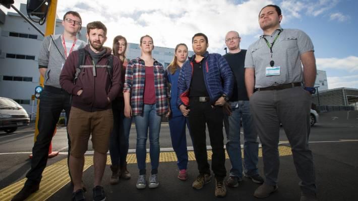 Junior doctors at Waikato Hospital went on strike over working hours in 2016. From left: John Newland, Dan Turner, Katie Reid, Renee Hope, Nina Henderson, Amin Uloom, Cathal McCloy and Mosese Karalus.