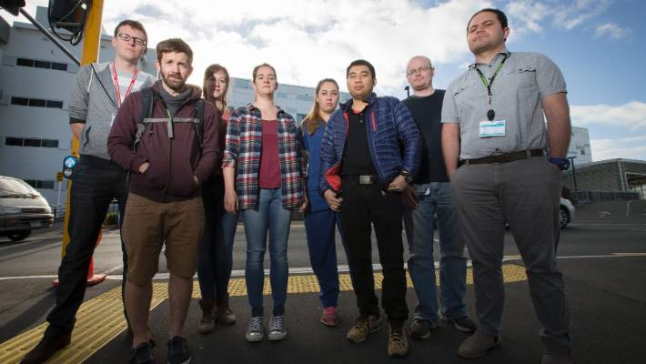 Junior doctors at Waikato Hospital went on strike over working hours in 2016. From left: John Newland, Dan Turner, Katie Reid, Renee Hope, Nina Henderson, Amin Uloom, Cathal McCloy and Mosese Karalus.