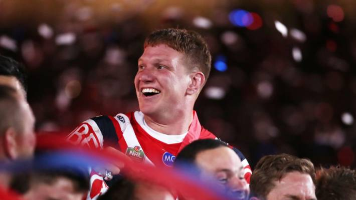 Dylan Napa celebrates the Sydney Roosters' NRL grand final win in September.