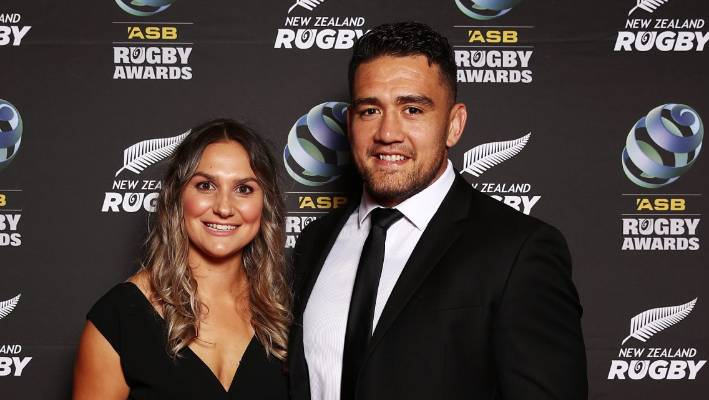 Codie Taylor and Lucy Ryan pose on the red carpet during the 2018 ASB Rugby Awards in Auckland last month.