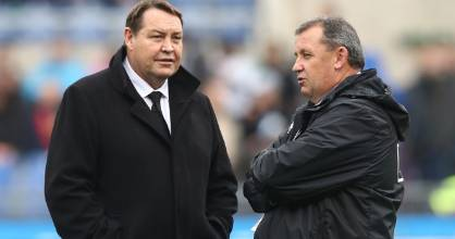 Ian Foster, right, will take over from Steve Hansen after the All Blacks win the 2019 Rugby World Cup.