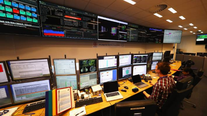 A control room at CERN the world's largest particle physics laboratory in Meyrin Switzerland