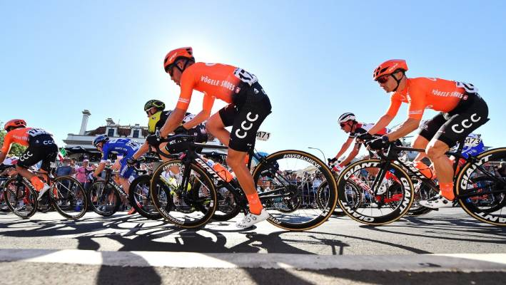 Patrick Bevin wins stage two of Tour Down Underneath