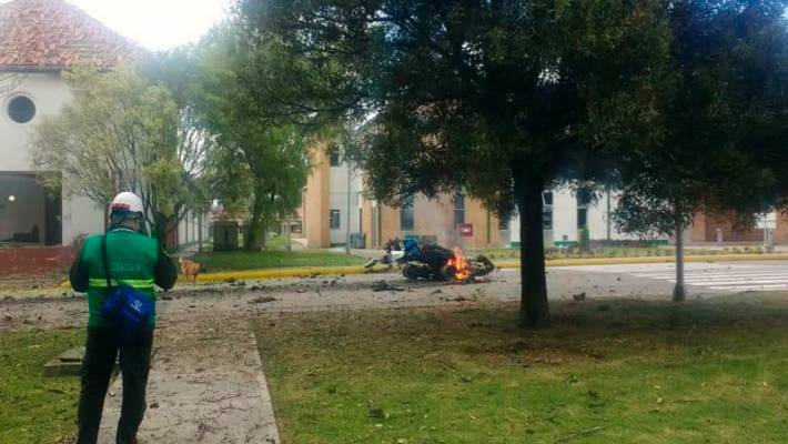 Several killed in suspected vehicle bomb blast at Bogota police academy