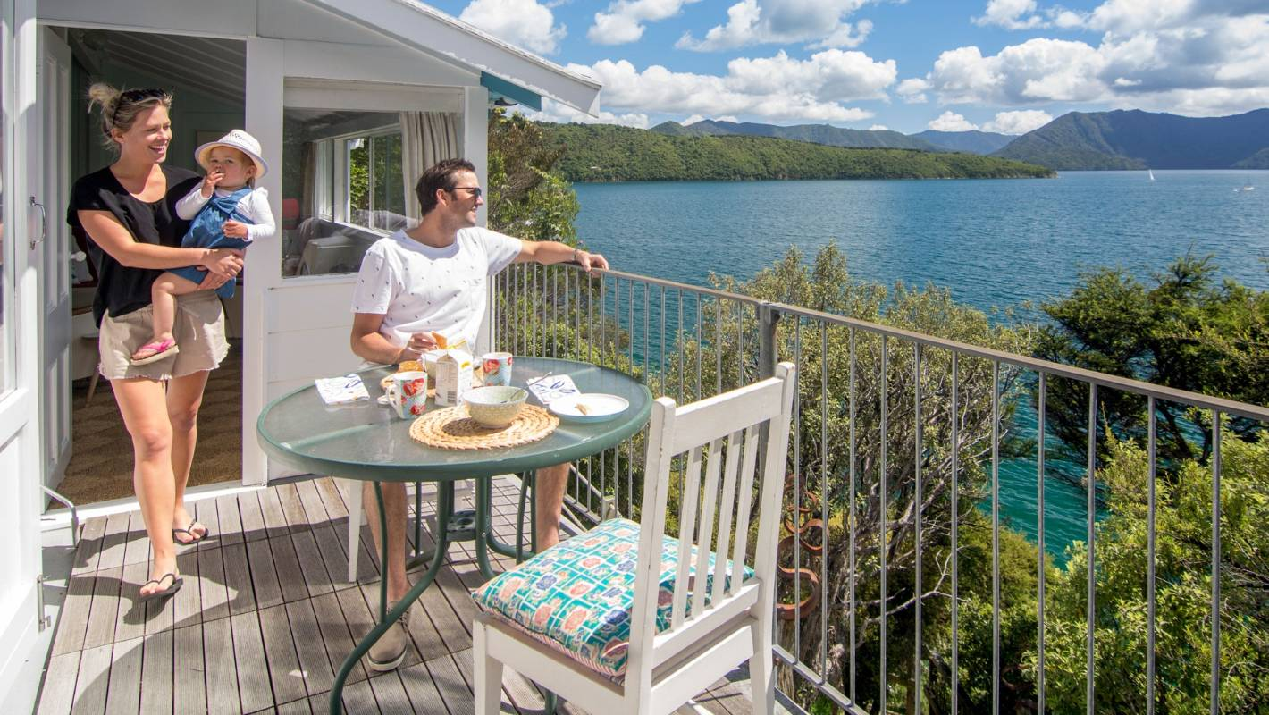 This 50-square-metre bach in the Marlborough Sounds is big on retro style