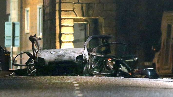 The scene of a suspected car bomb on Bishop St in Londonderry Northern Ireland