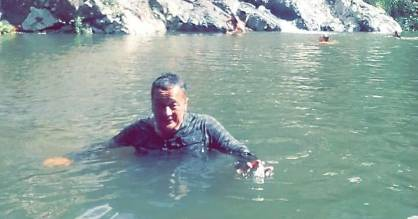 Eddie Proosten just moments before he drowned at Maketu Falls in south Auckland.
