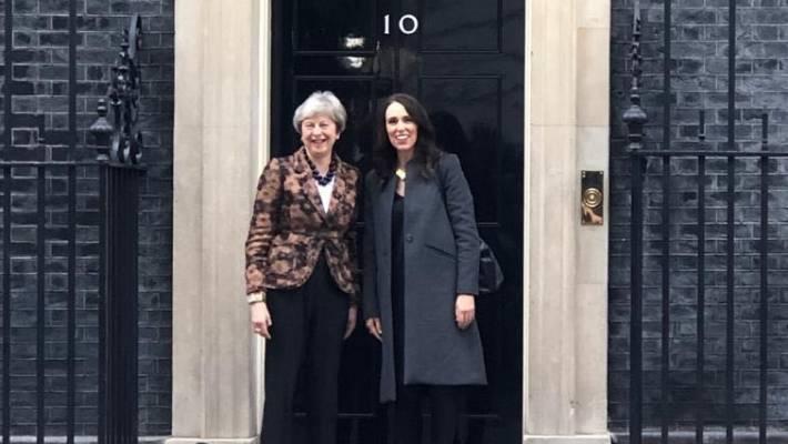 Theresa May left met with New Zealand's Jacinda Ardern