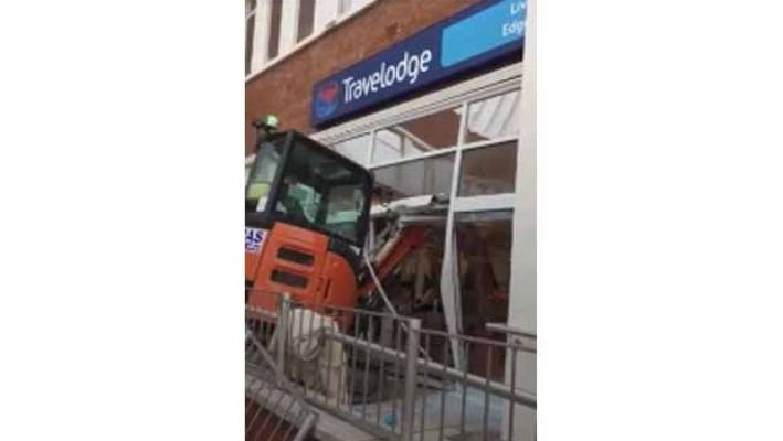 Police seek digger driver who trashed brand new Travelodge