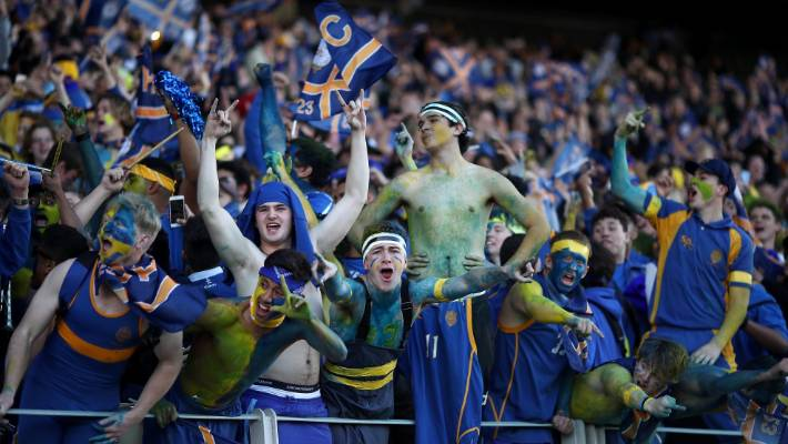 """The students of """"St. Petar """"are on their side in the final rugby final of Auckland 1A First XV against the Royal College in Eden Park last year."""