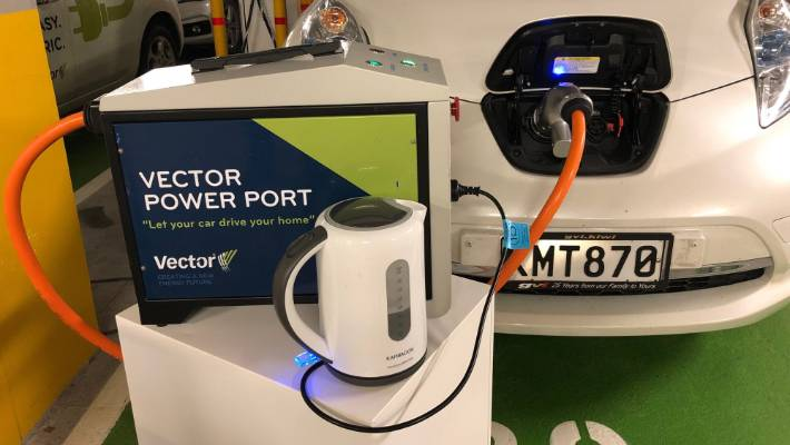 Power from an electric vehicle is used to boil a teapot using a home car.