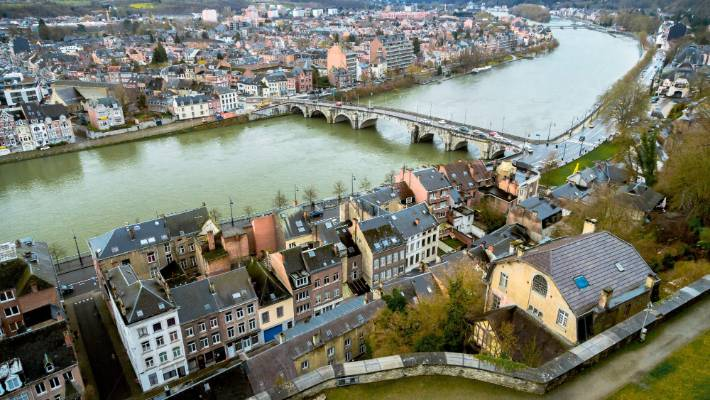 An aerial view over Namur in Belgium.