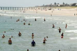 Adelaide residents escape the heat at Henley Beach in South Australia during January's heatwave.