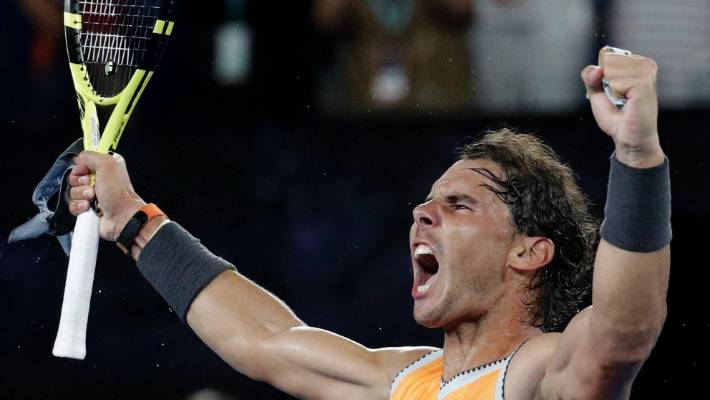 3e8f1b48ddda6b Spain s Rafael Nadal celebrates after defeating Greece s Stefanos Tsitsipas  in their semifinal at the Australian Open