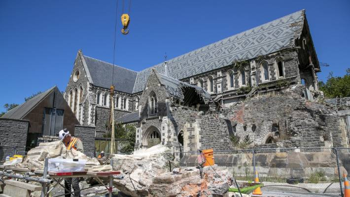 Stonemasons have cleared and catalogued rubble from the front of the cathedral.